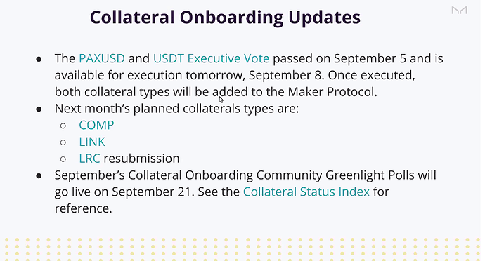 Collateral Onboarding Updates