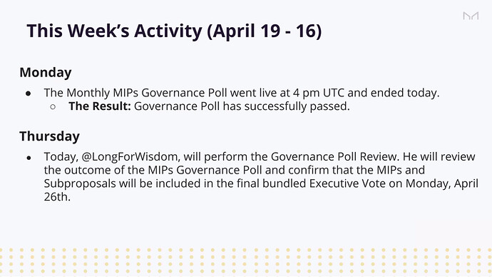 Governance poll passed