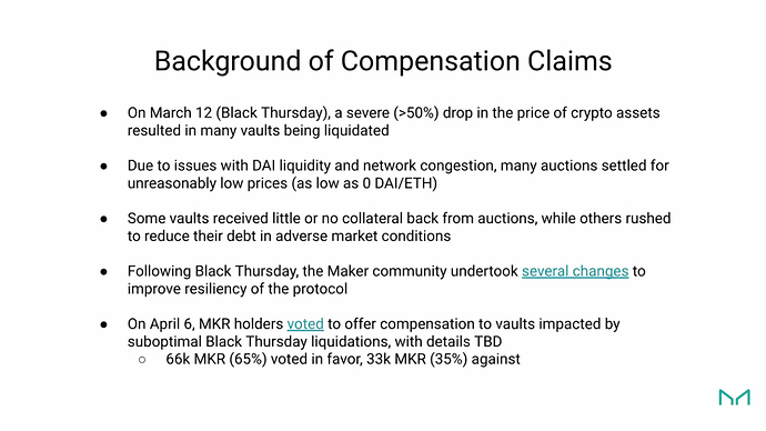 Background of Compensation Claims